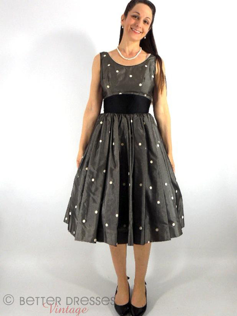50s Black and White Polka Dot Party Dress at Better Dresses Vintage