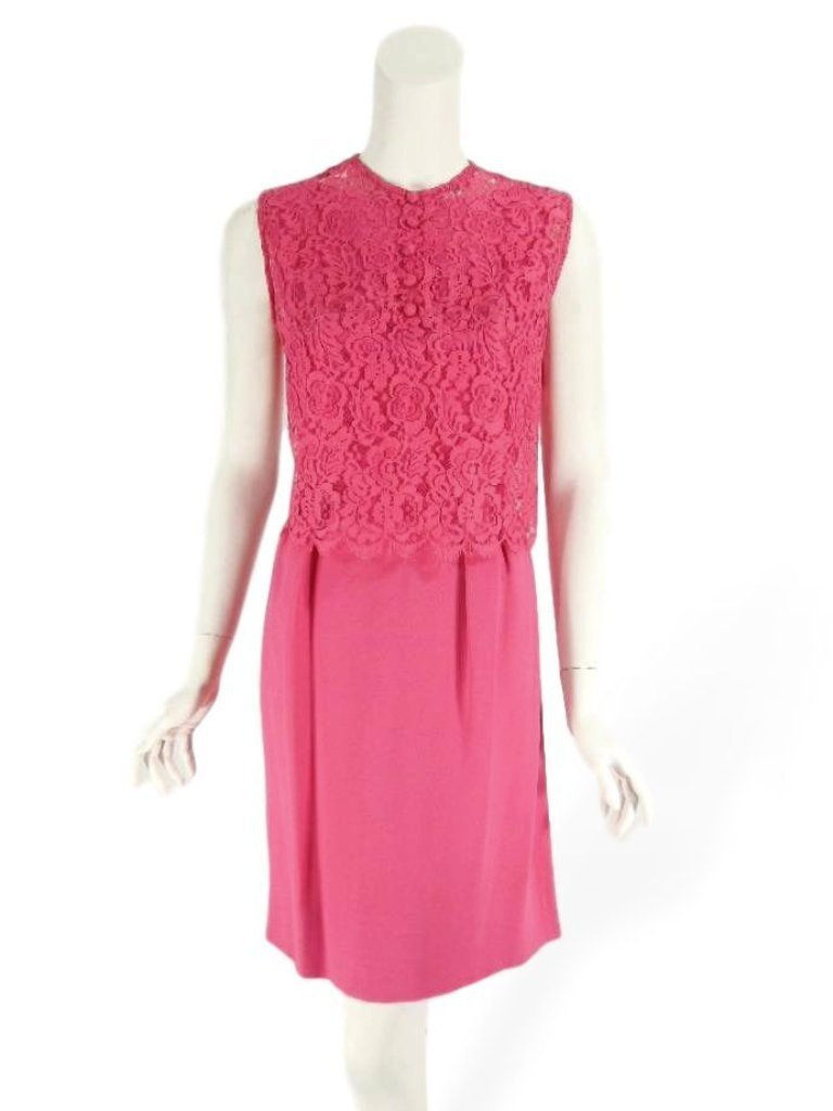 60s Fuchsia Dress With Lace Topper