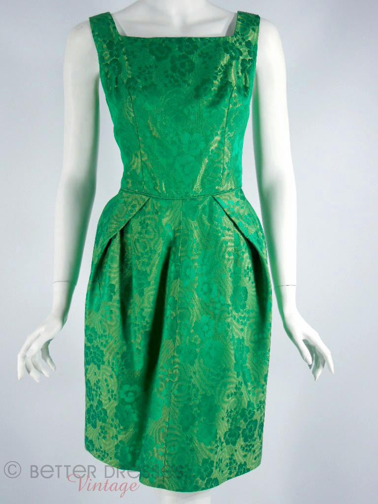 1950s Emerald Green Brocade Cocktail Dress at Better Dresses Vintage