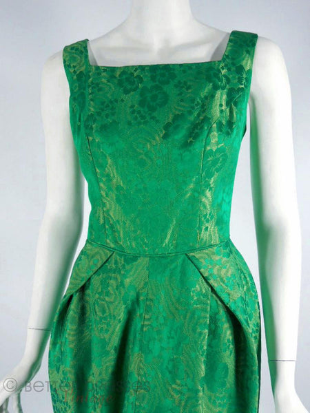 50s Green Brocade Cocktail Dress - sm