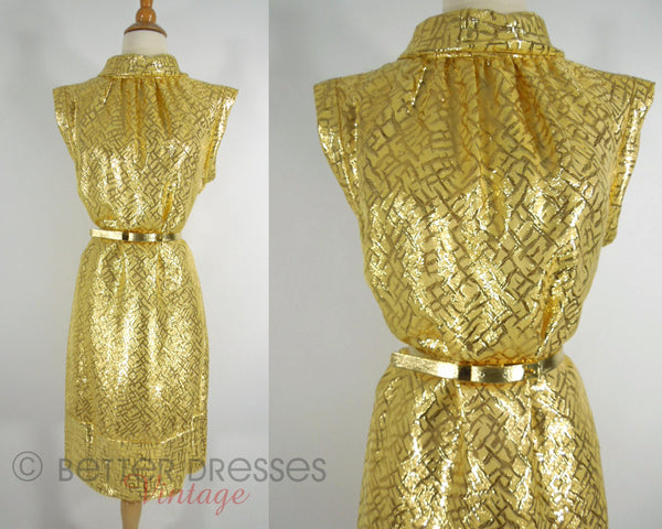 60s Gold Belted Mod Cocktail Dress - md, lg