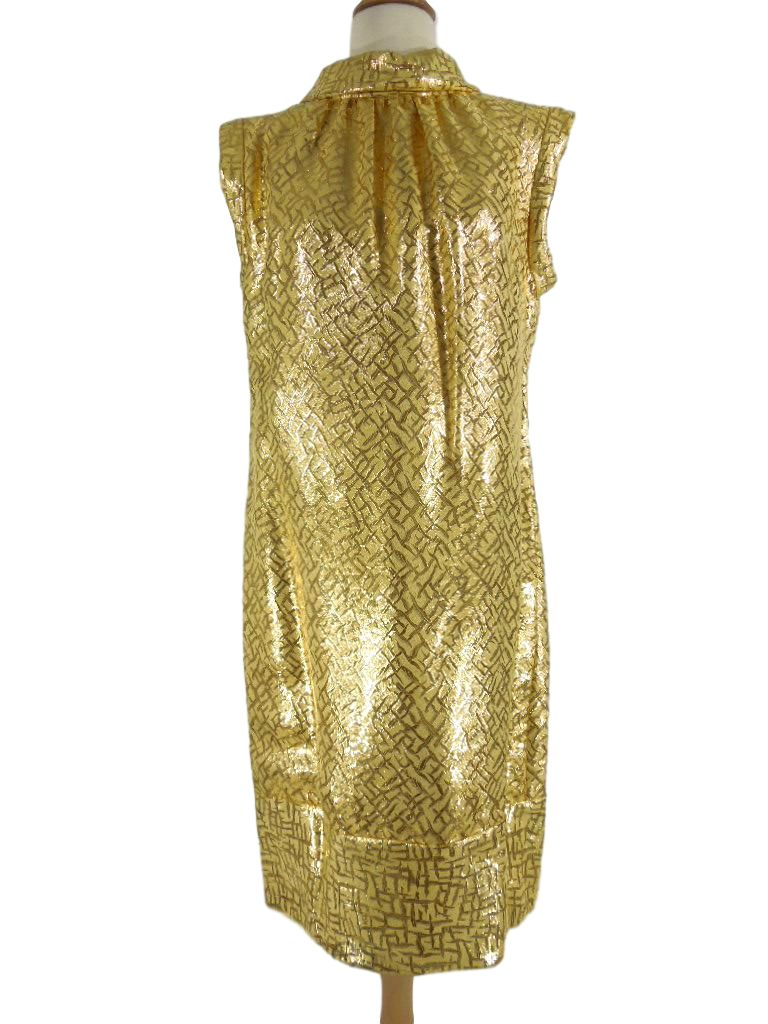 60s Gold Metallic Shift Dress - no belt