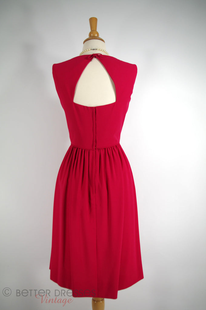50s/60s Raspberry Red Cocktail Dress - sm, med