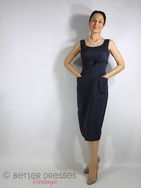 50s Navy Blue Sheath Dress - Front