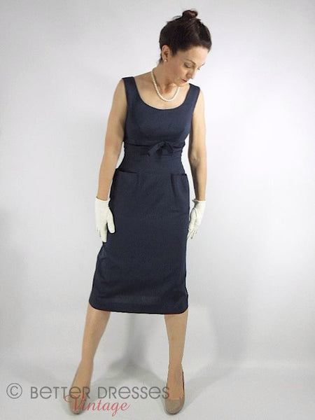 50s Navy Blue Sheath Dress - alternate view