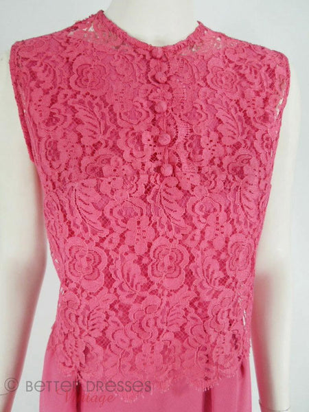 60s Fuchsia Pink Dress With Lace Overlay - sm, med