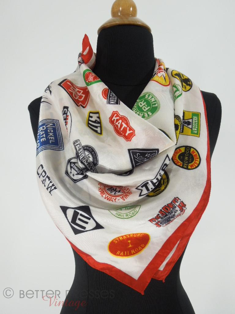 Vintage Railroad Souvenir Scarf on Cecelia the Dress Form at Better Dresses Vintage.