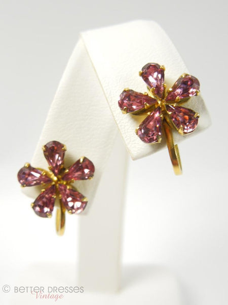 1940s Pink Rhinestone Flower Screwback Earrings