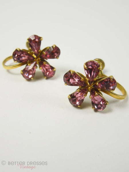 1940s Pink Rhinestone Flower Screwback Earrings - flat
