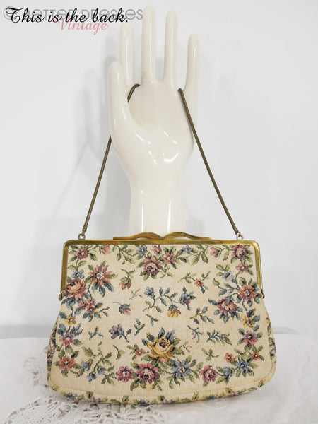 50s Cream Tapestry Frame Purse - back