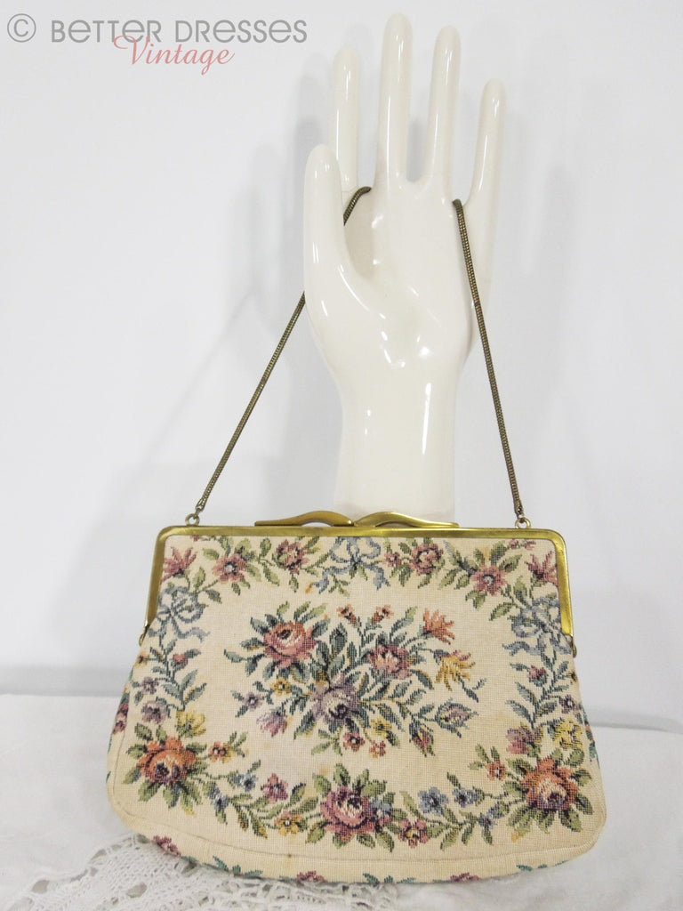 50s Cream Tapestry Frame Purse - front