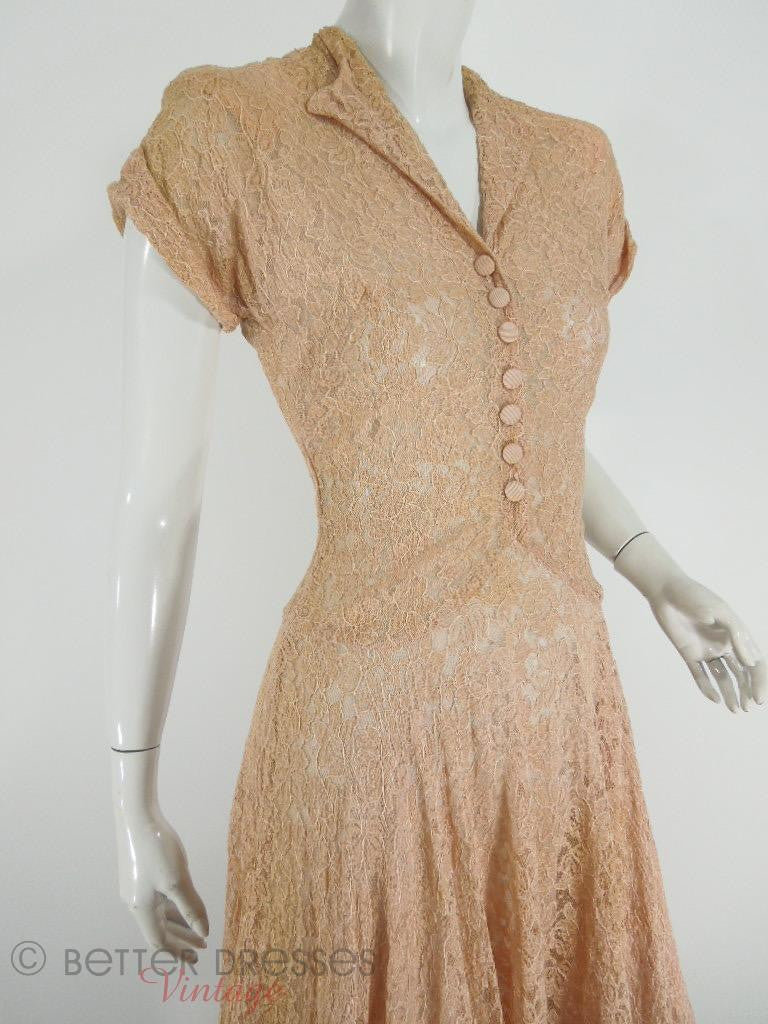 40s Peach Beige Lace Dress at Better Dresses Vintage - Close Angle View