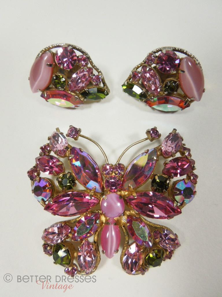 Vintage Regency Pink AB Butterfly Brooch and Earrings Demi Parure at Better Dresses Vintage.