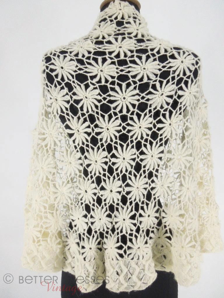 50s Baar & Beards  Top Hits Cream Crochet Shawl at Better Dresses Vintage - back view