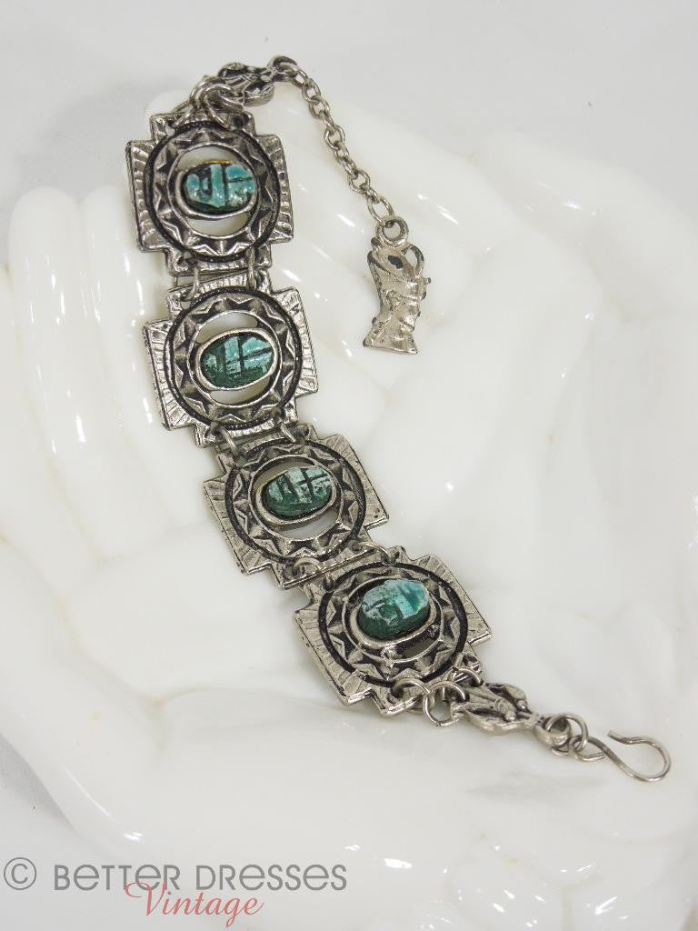 Faux turquoise Egyptian scarab bracelet at Better Dresses Vintage