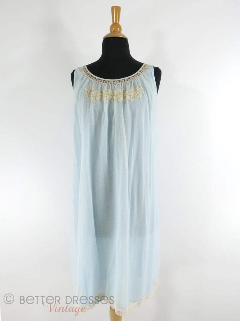 60s light blue nightie - full front view
