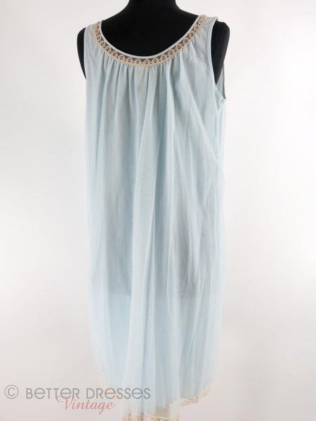 60s light blue nightie - full back view