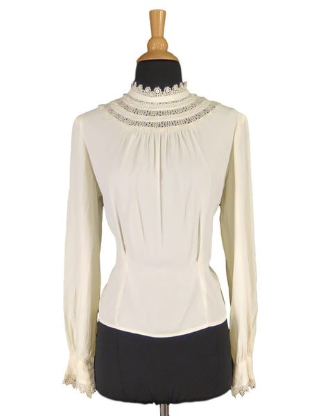 40s Long Sleeve Bishop Collar Blouse