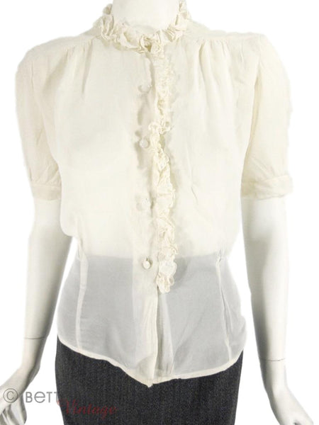30s/40s Ruffled Blouse - untucked