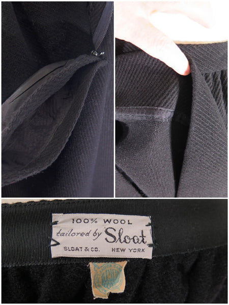 Vintage 1950s black skirt details and labels
