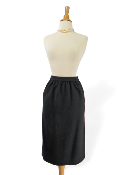 50s Black Wool Straight Skirt - sm