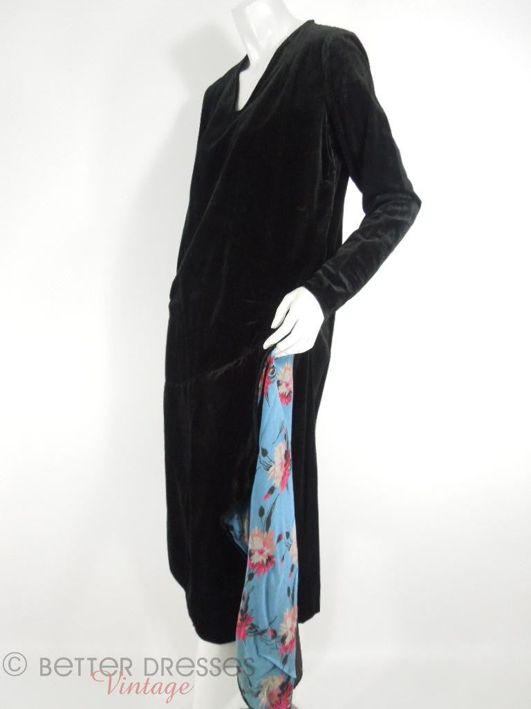 20s Black Velvet Dress - lg