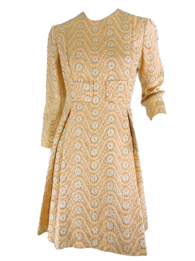 60s Malcolm Starr Peach and Metallic Dress
