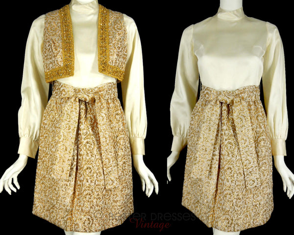 60s Gold Mod Dress + Vest Set