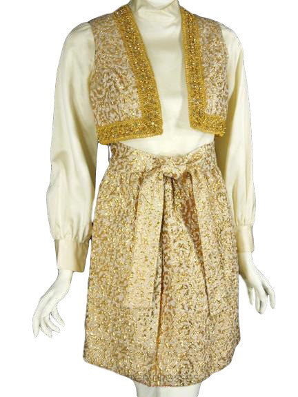 60s Mod Gold Dress Set