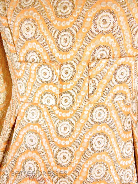 60s Malcolm Starr Peach Brocade Mini Dress at Better Dresses Vintage. center detail