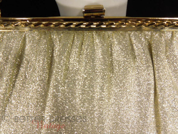 1950s Evening Bag in Gold Fabric - detail