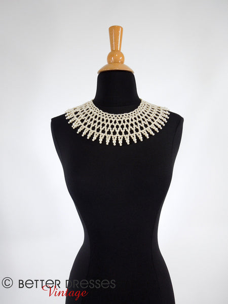 50s/60s Pearl Bib Necklace - far view