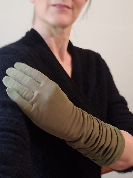 gloves on a person