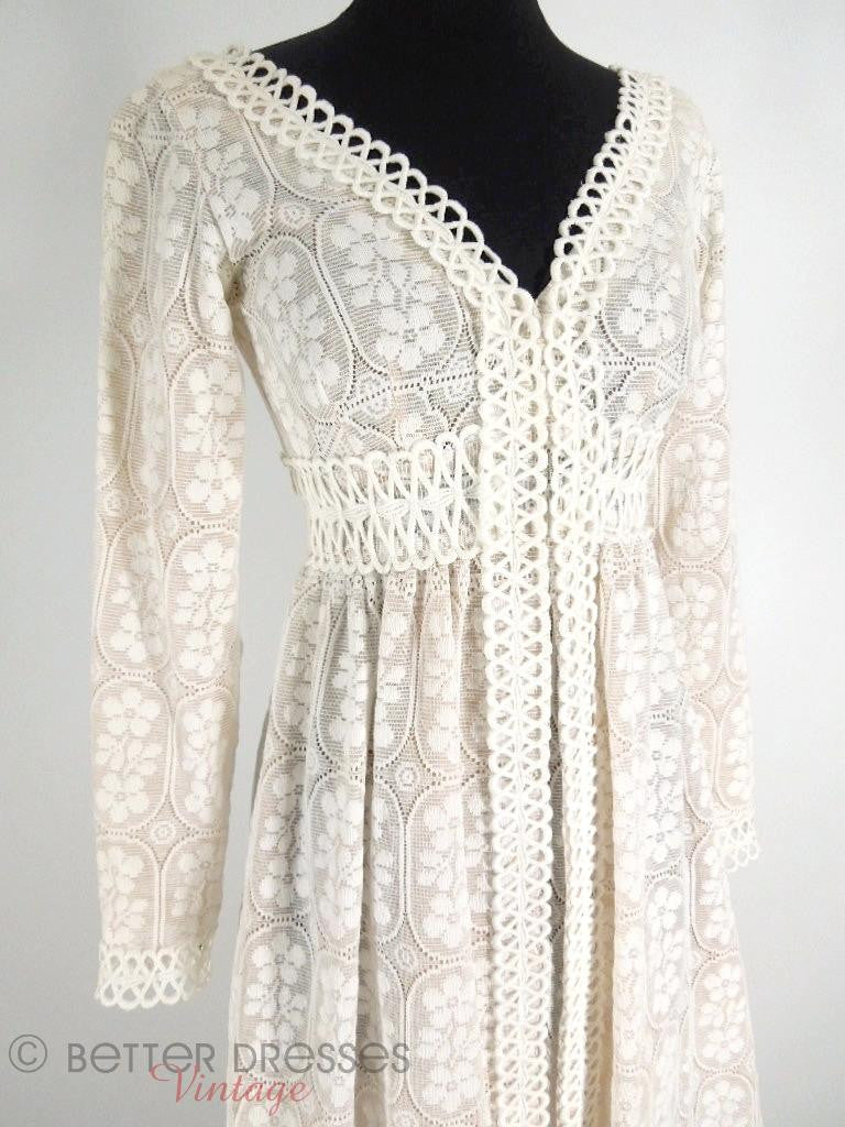 Vintage 60s Lillie Rubin lace wedding gown maxi dress at Better Dresses Vintage. - close angle view