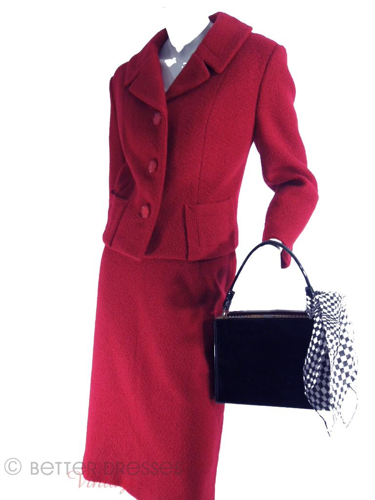 60s Red Boucle Suit at Better Dresses Vintage - angle view