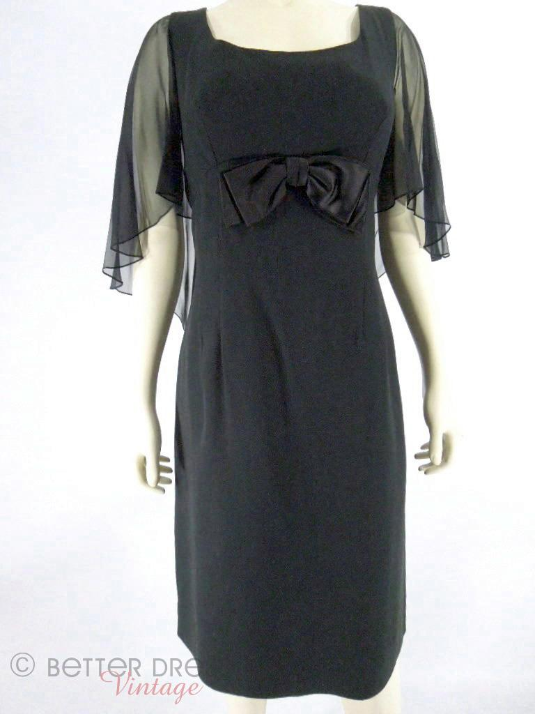 60s Black Flutter Sleeve Zou Bisou Dress at Better Dresses Vintage