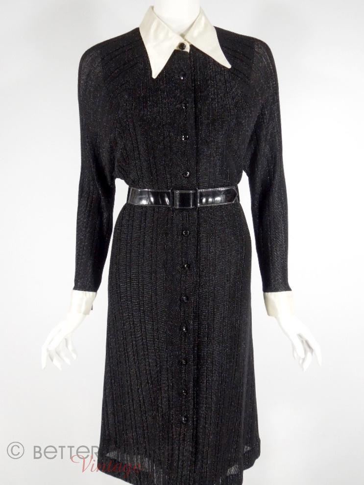 70s Black Metallic Knit Dress
