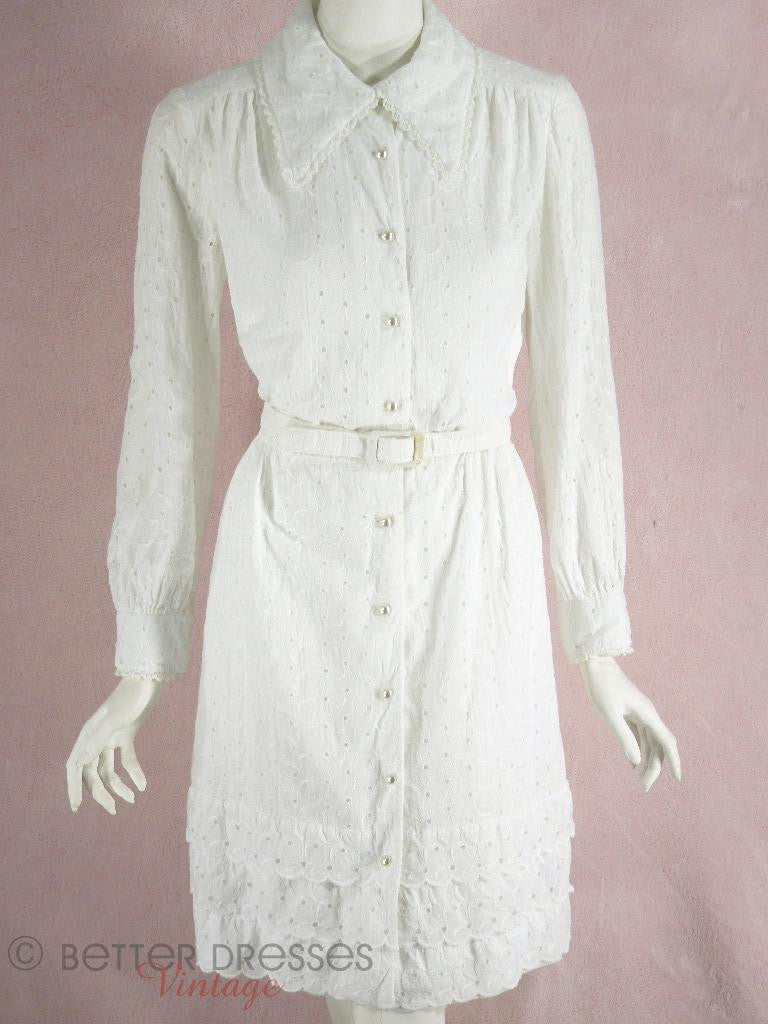 1970s 70s White cotton eyelet shirtwaist dress at Better Dresses Vintage