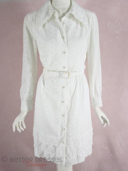 1970s 70s White cotton eyelet shirtwaist dress at Better Dresses Vintage - neck open