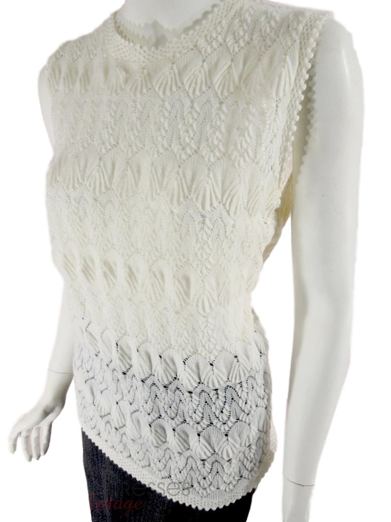 60s Cream Knit Sleeveless Top - angle view
