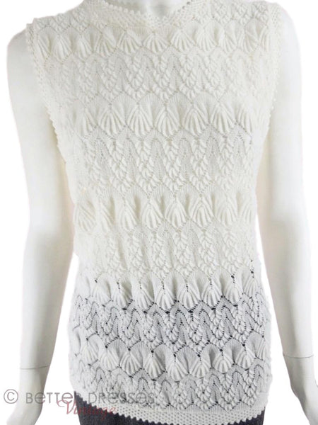 60s Cream Knit Sweater Top - front view