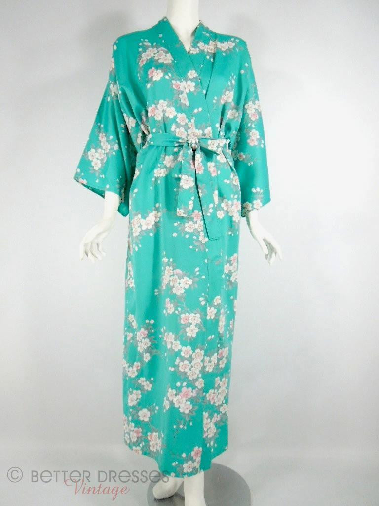 Vintage Kimono Robe in Tiffany Blue With Cherry Blossoms at Better Dresses Vintage