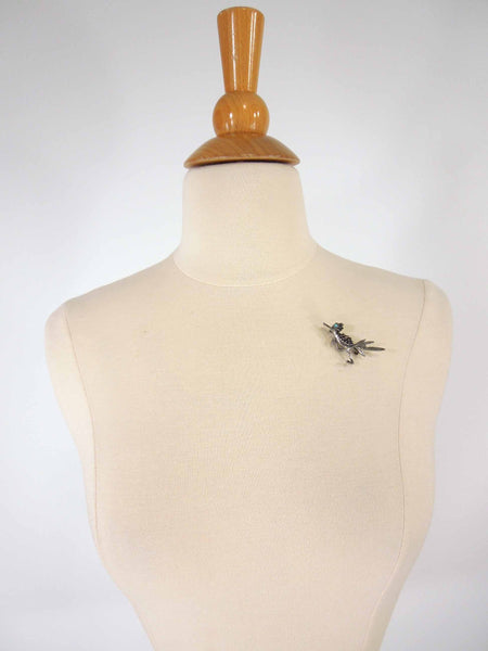 Vintage Roadrunner Brooch on Cecelia the Dress Form