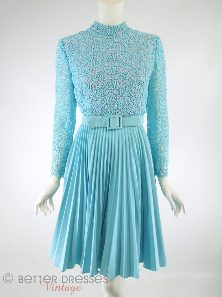 60s/70s Blue Lace Bodice Dress - med
