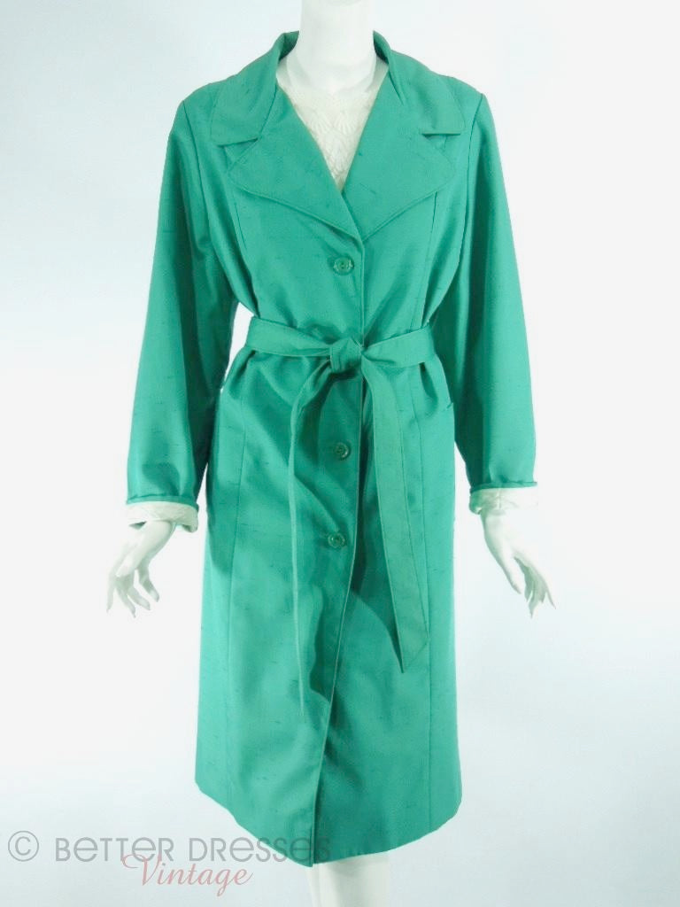 70s Green Trench Coat - lg