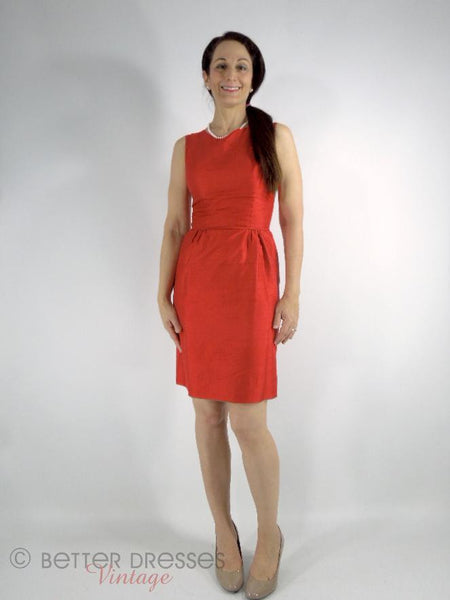 50s/60s Red Silk Sheath Dress - xs, sm