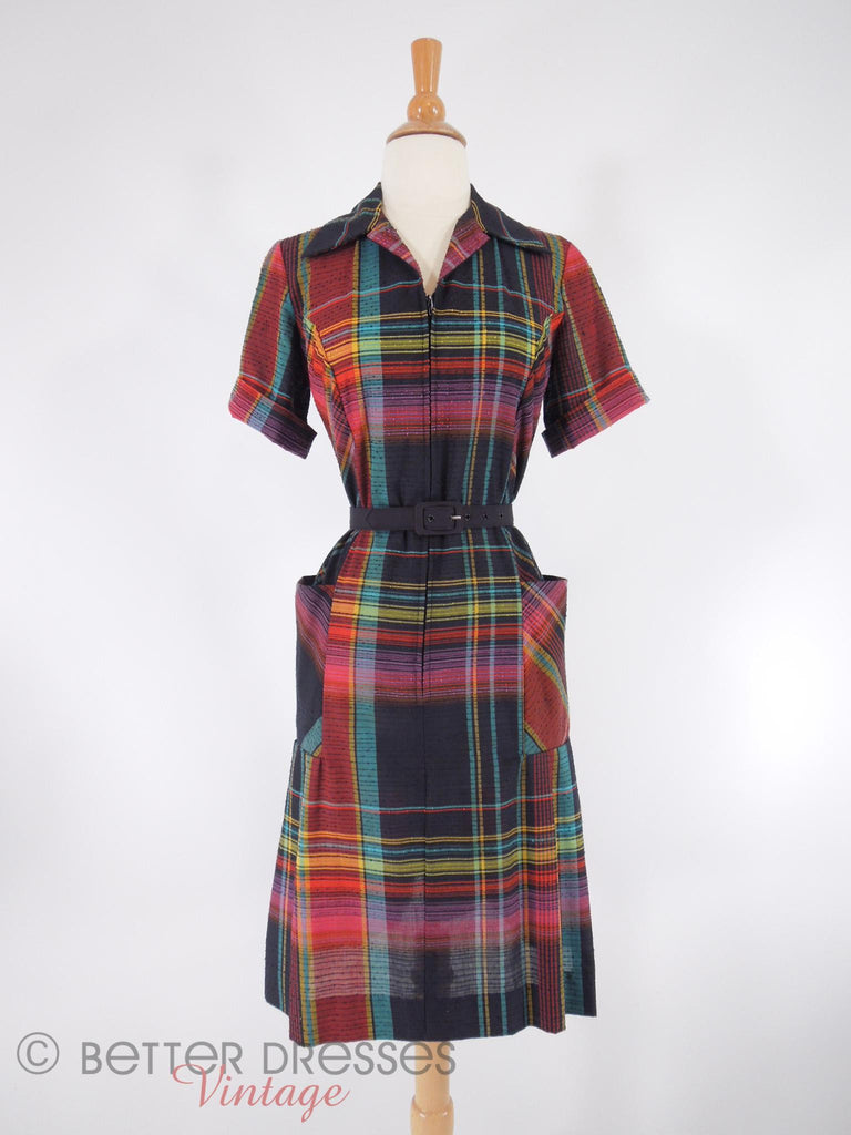 60s Zip-Front Scooter Shift Dress - with belt