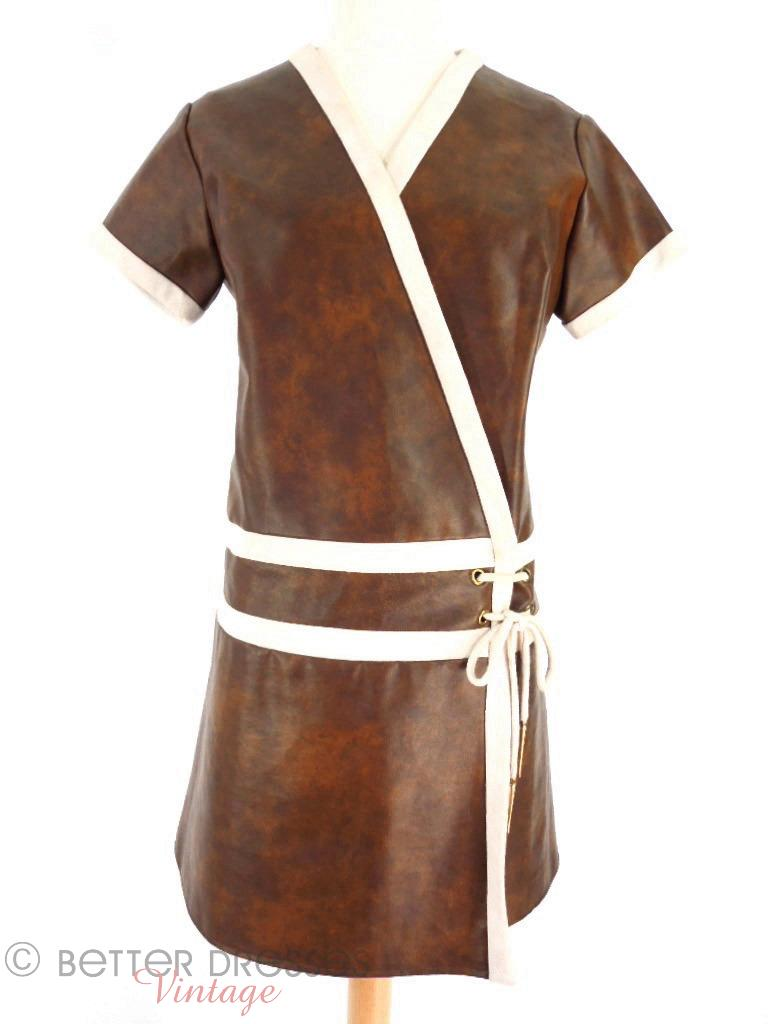 60s Mod Pleather Mini Dress at Better Dresses Vintage