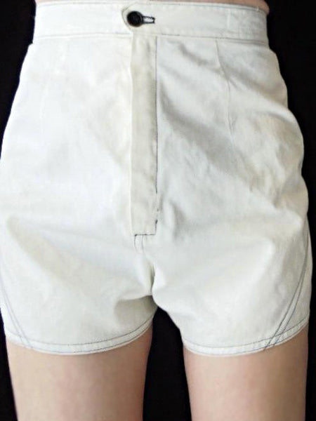 50s High-Waist Shorts - on a person, front