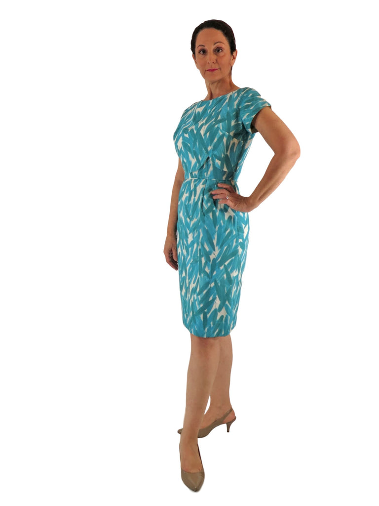 50s/60s Teal Sheath Dress - front